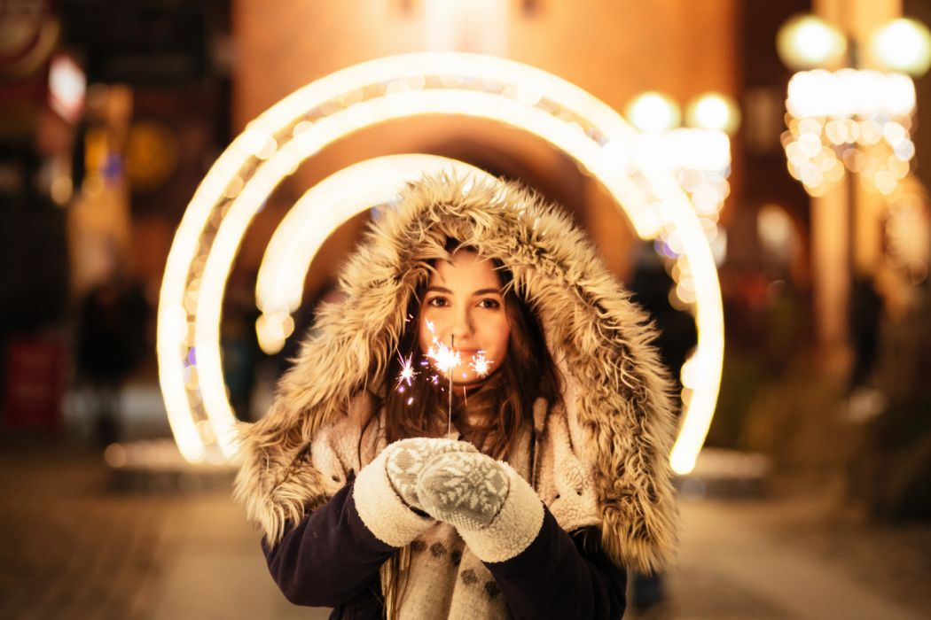 adult beautiful blur bokeh celebration christmas city fall fashion fireworks fun girl lights love model person portrait smile smiling sparkling street winter woman wallpaper