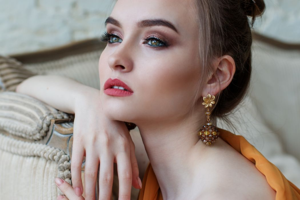 attractive beautiful beautiful girl beauty bright close-up dress earrings elegant eyes face fashion female girl glamour hair hairstyle indoors jewelry lady lips wallpaper
