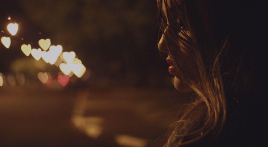 art blur close -up colors dark girl hearts illuminated landscape lights long exposure luminescence night outdoors reflection shining woman royalty free images wallpaper