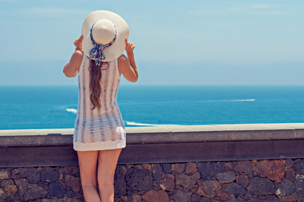 back view beach fashion female girl horizon island leisure ocean outdoors person recreation relaxation sand scenic sea seascape seashore sexy summer sun hat travel tropical wallpaper