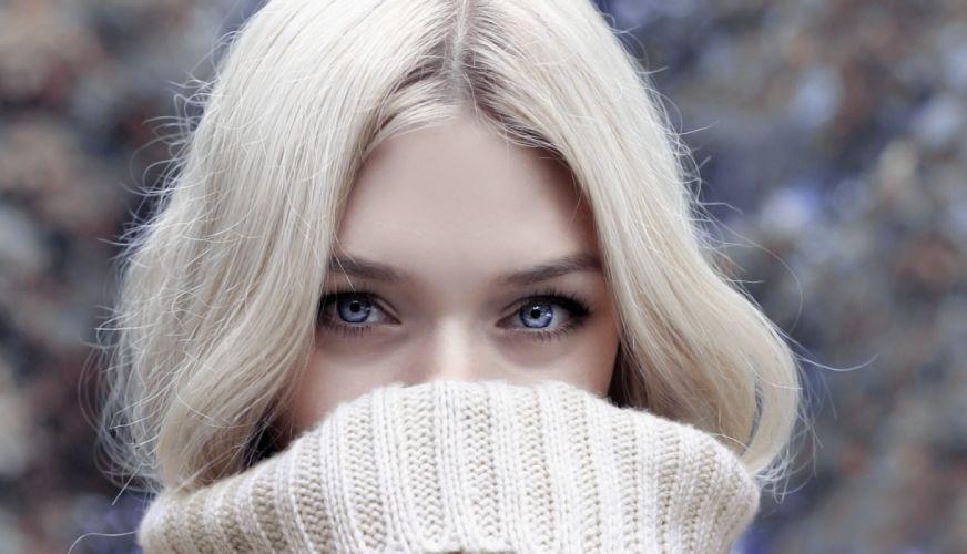 beautiful beauty blond blur cold cute eye face fall fashion fun girl hair look looking model portrait pretty scarf sweater warmly winter woman wool young wallpaper
