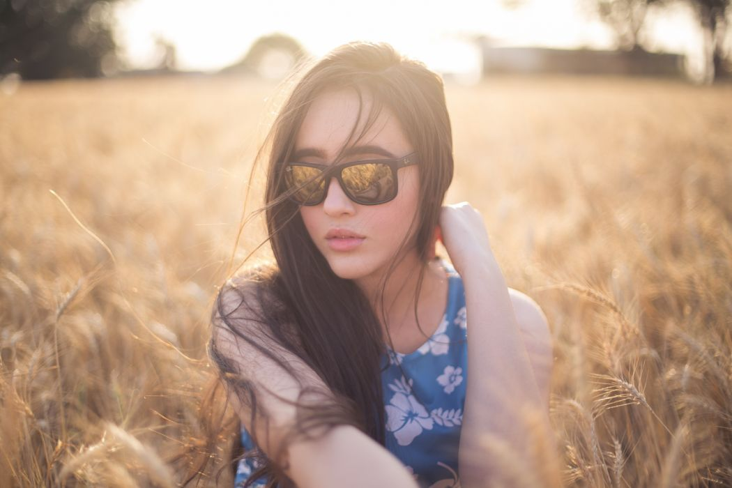 blur close-up female field focus girl grass idyllic lady model nature photoshoot pose posture scenic sunglasses tranquil woman wallpaper
