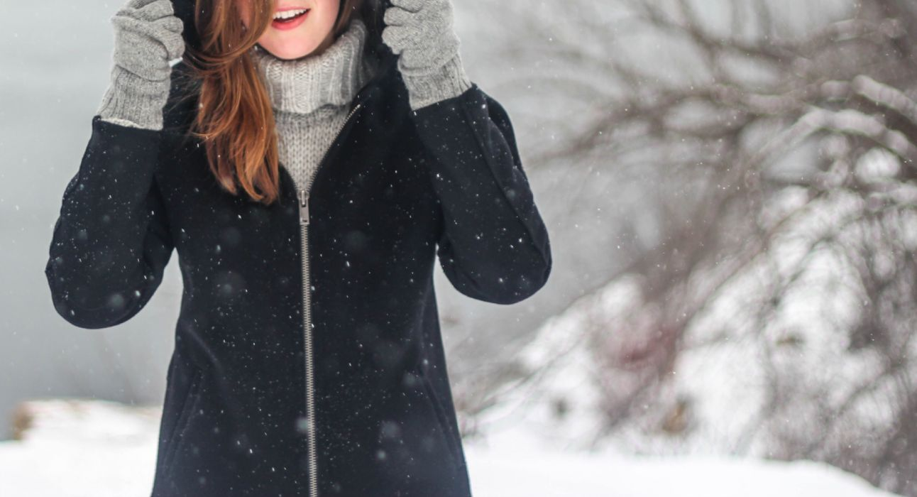 coat cold female girl jacket smile snow snowflakes warm clothing winter winter clothing woman wallpaper