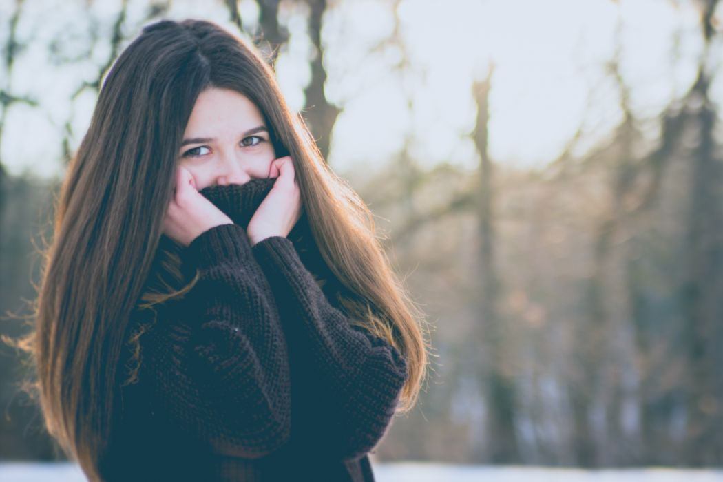 Portrait of Young Woman in Winter wallpaper