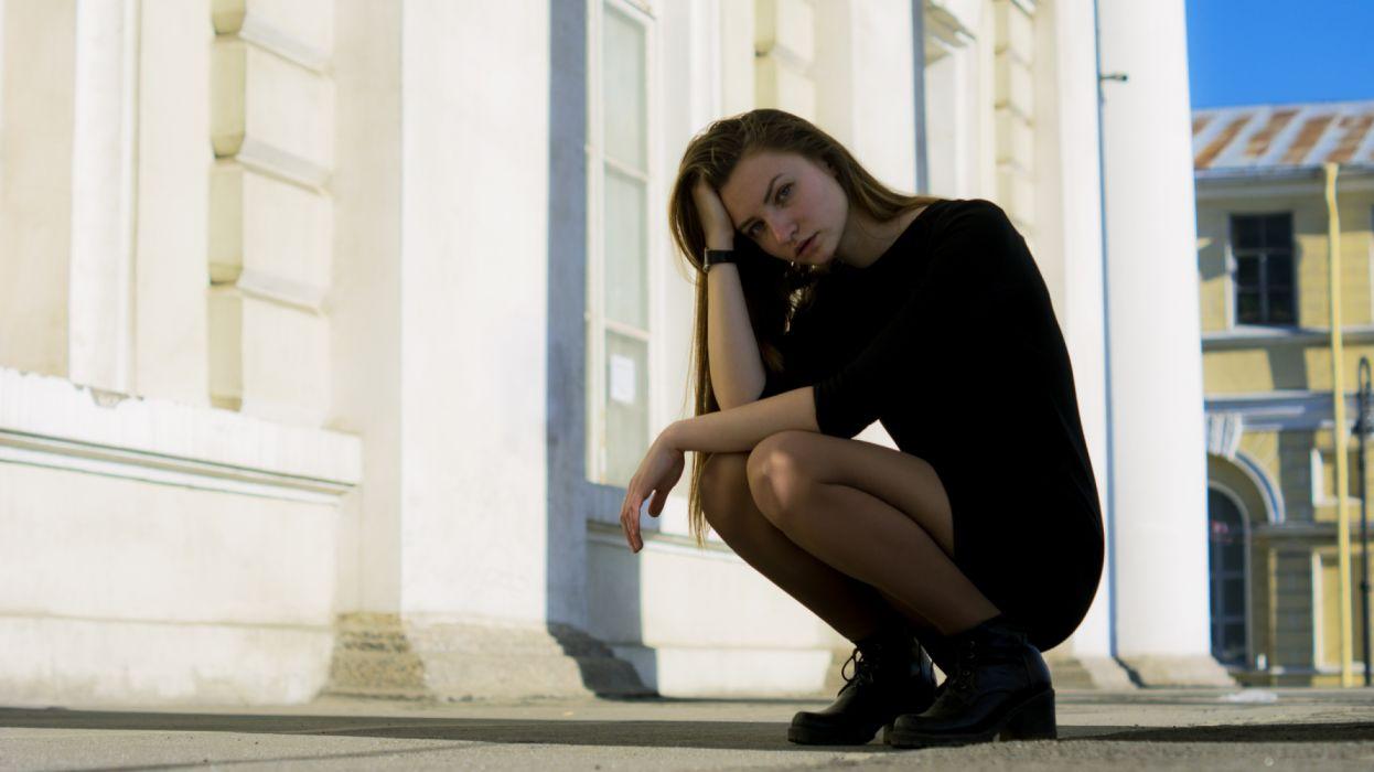 Woman in Black Bodycon Dress Taking a Pose wallpaper