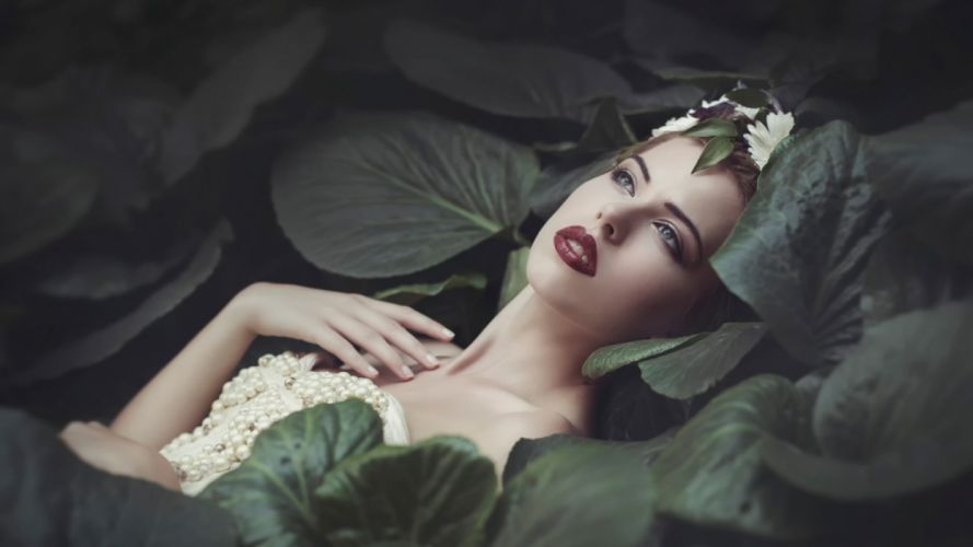 Photography sensuality sensual-sexy girl woman model face nature lipstick Lily-Pads pearls leaves flower plants wallpaper