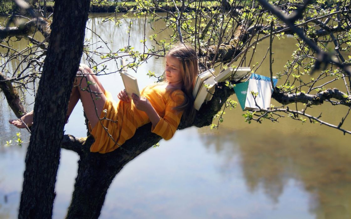 Photography sensuality sensual-sexy girl woman model legs knees barefoot feet dress striped reading books lying nature trees lake wallpaper