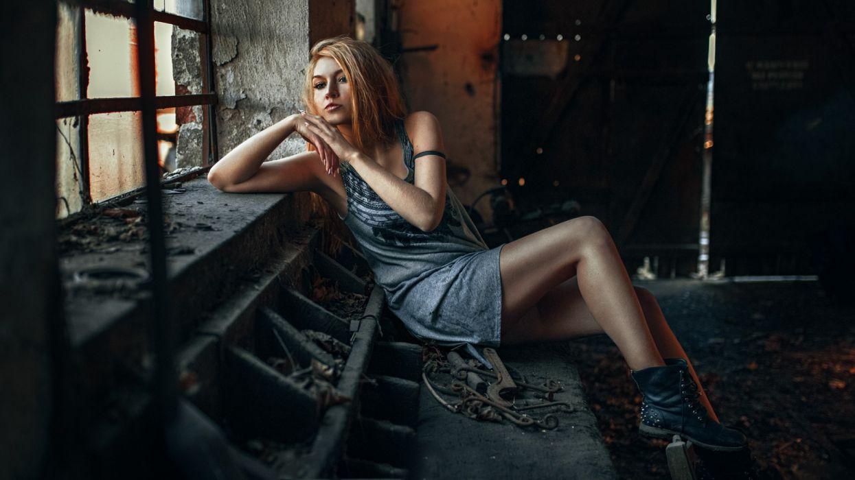 Photography sensuality sensual-sexy girl woman model legs knees Carla-Sonre dress sitting window sadness wallpaper
