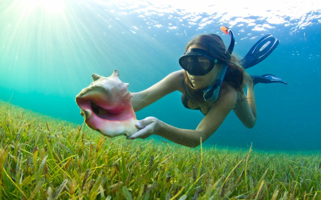 Photography sensuality sensual-sexy girl woman model legs knees water underwater diving snorkeling seabed shell wallpaper