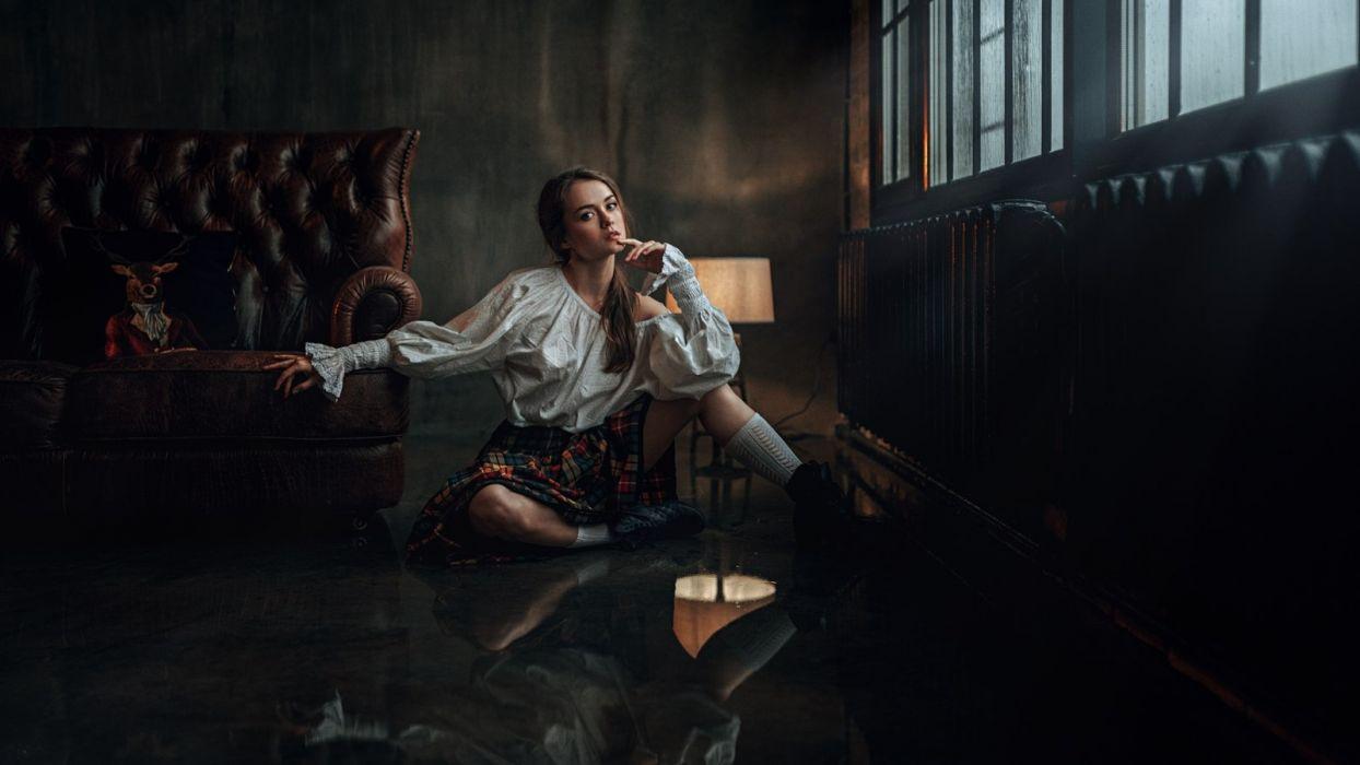 Photography sensuality sensual-sexy girl woman model legs knees sitting floor shirt skirt socks Anastasia-Zonova window couch reflection wallpaper