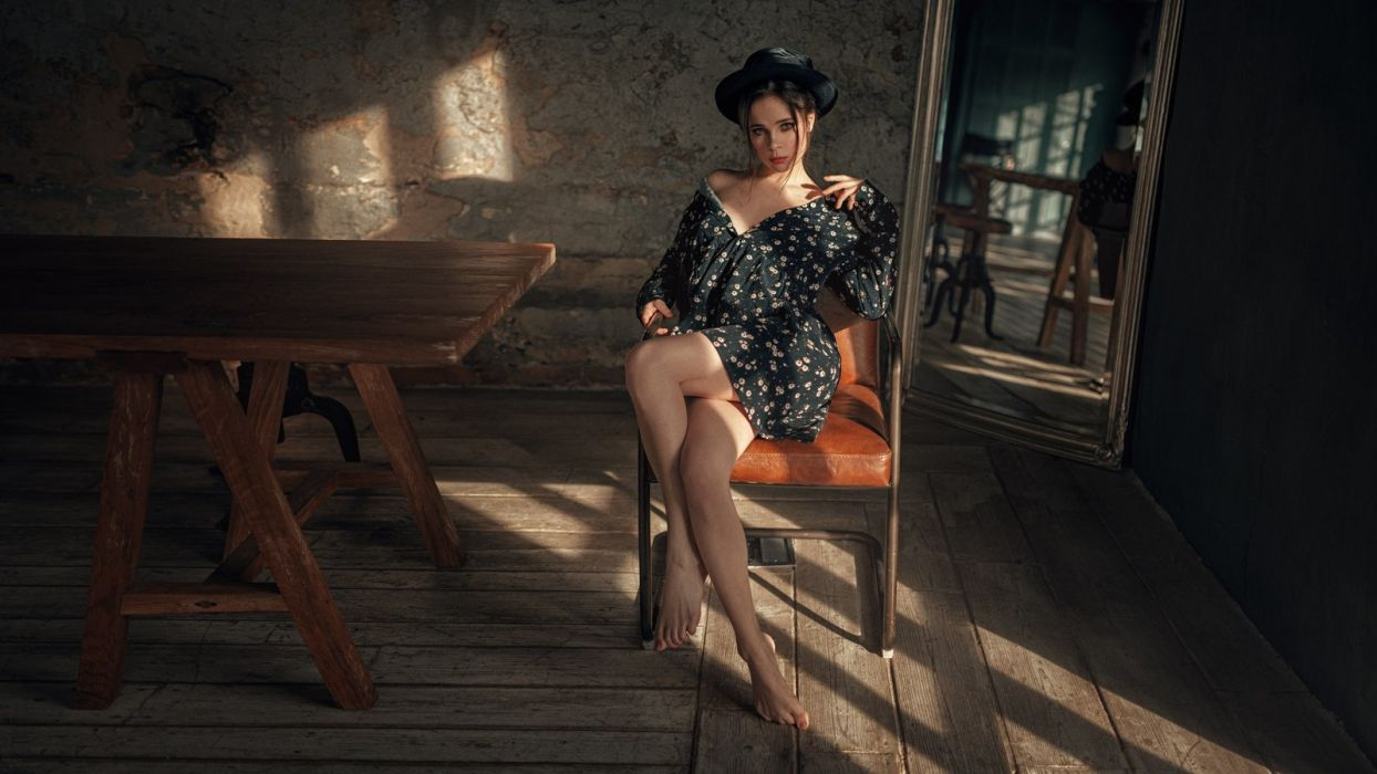 Photography Venera-Ray Georgy-Chernyadyev feet legs knees thgihs bare-shoulders sitting chair mirror dress cleavage hat reflection table wallpaper