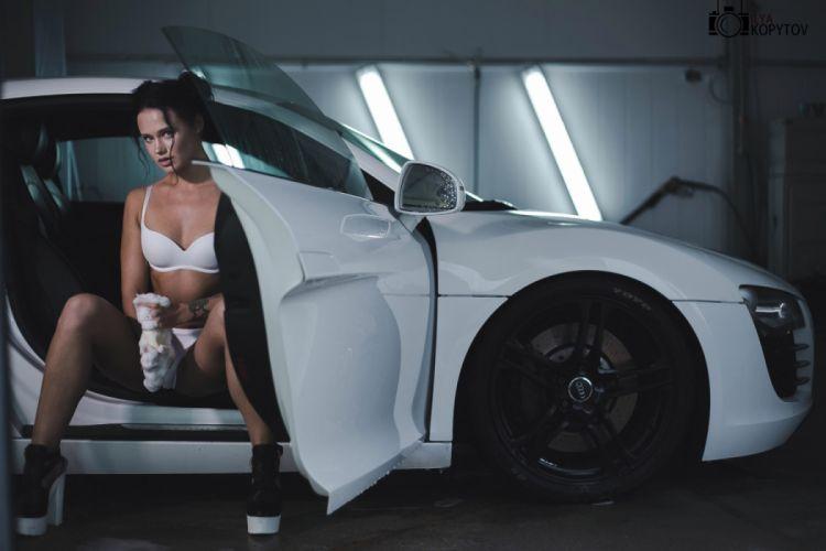 Machine sensuality sensual sexy girl woman model car Anastasia-Maslovskaya legs knees lingerie tattoo sitting spume Audi-ilya-kopyto wallpaper