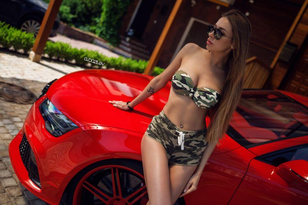 Machine sensuality sensual sexy girl woman model car Dashenka-Strajova legs knees belly navel piercing tattoo bra shorts sunglasses camouflage wallpaper