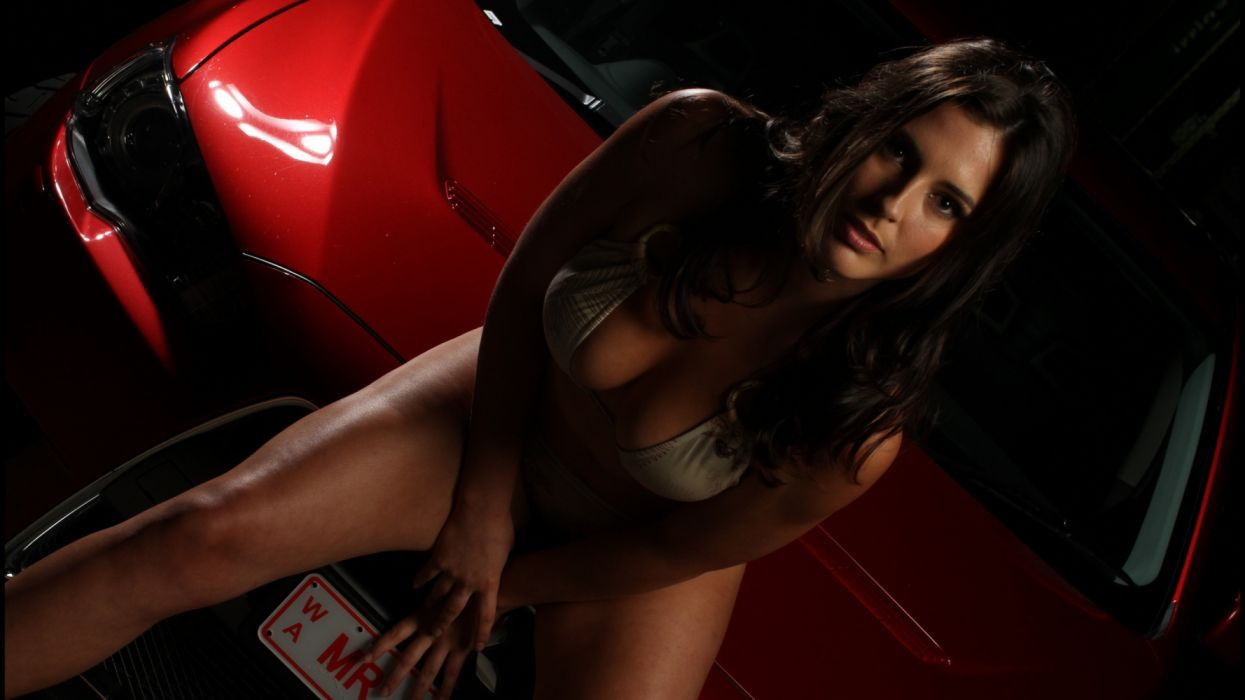 Machine sensuality sensual sexy girl woman model car legs knees lingerie bra sitting cleavage red gaze wallpaper
