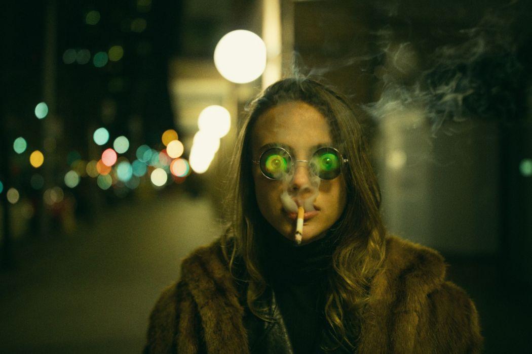 Face girl woman lips hologram glasses smoke smoking cigarette fur-coat street wallpaper