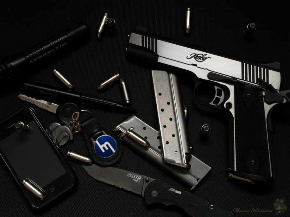 Style pistol gun knife keys bullet munition wallpaper