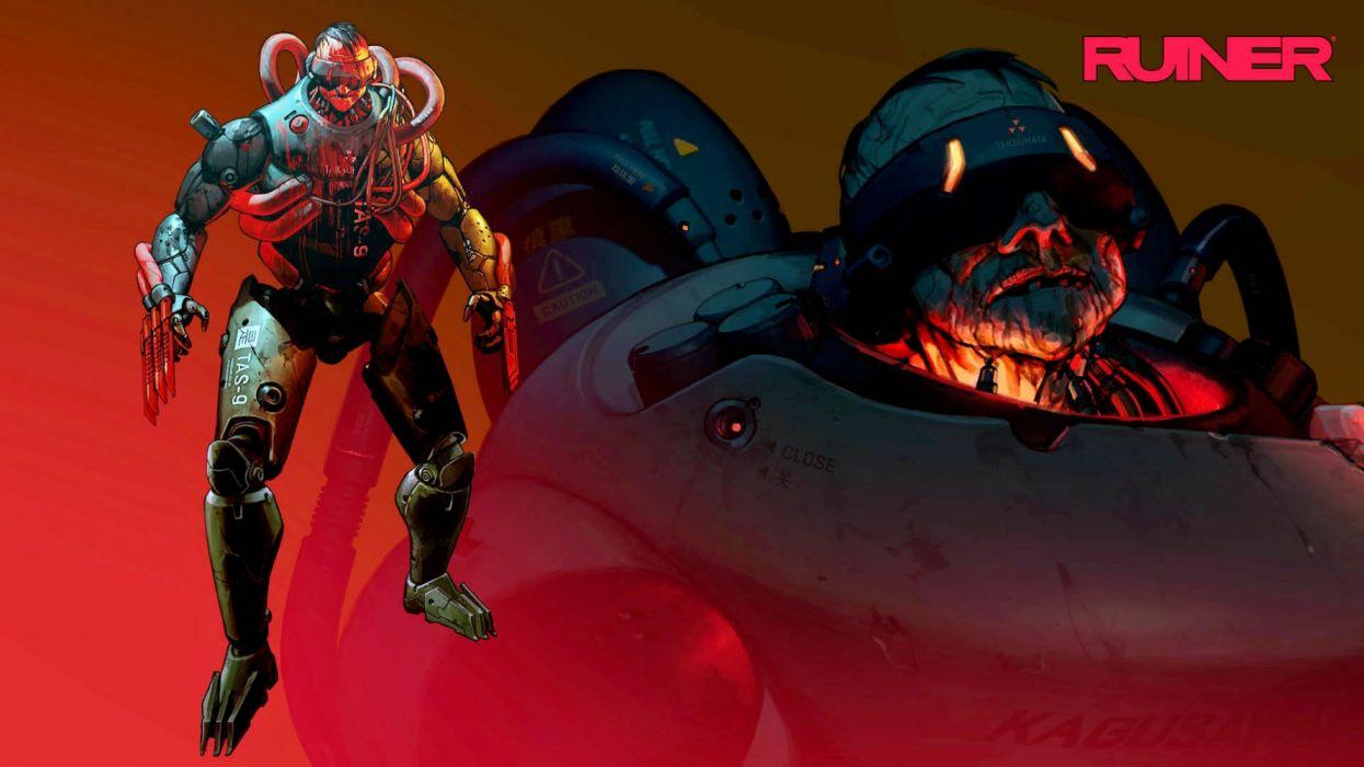 RUINER cyberpunk sci-fi futuristic action shooter fighting fps dark wallpaper