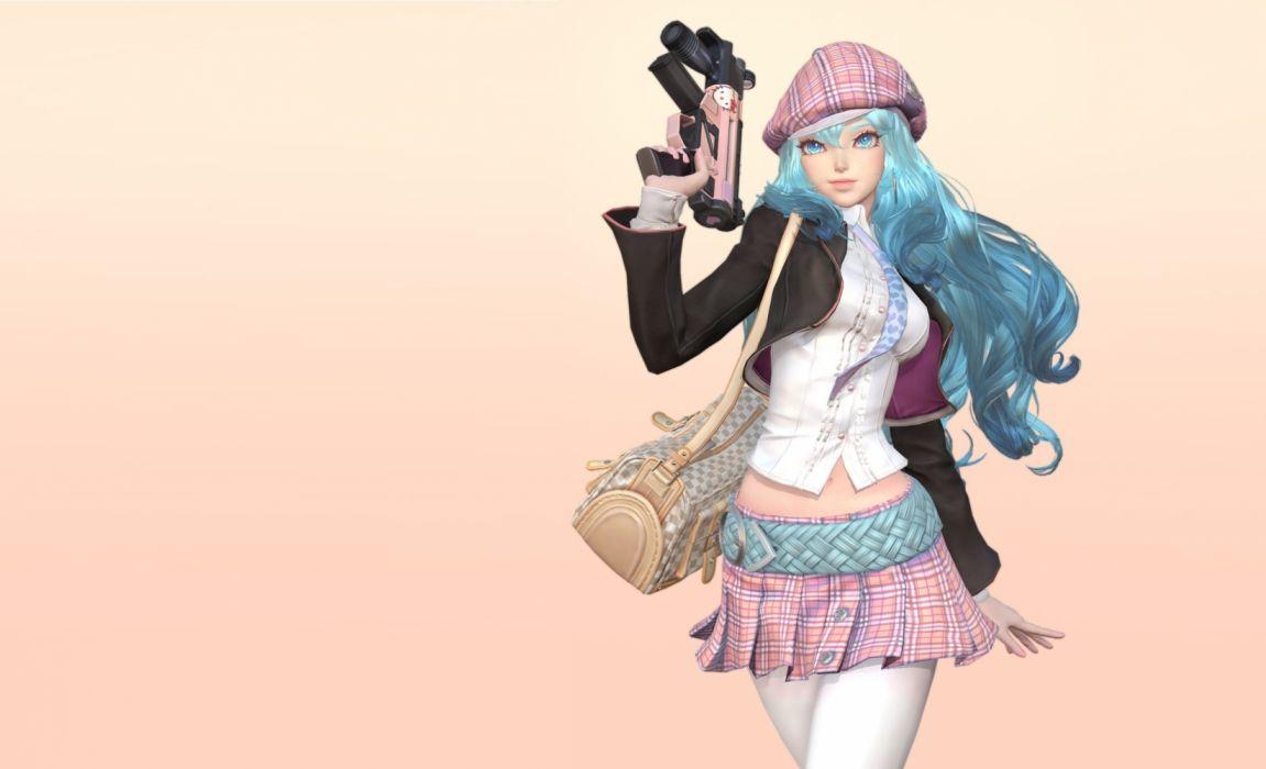 fantasy girl woman blue hair long hair wallpaper