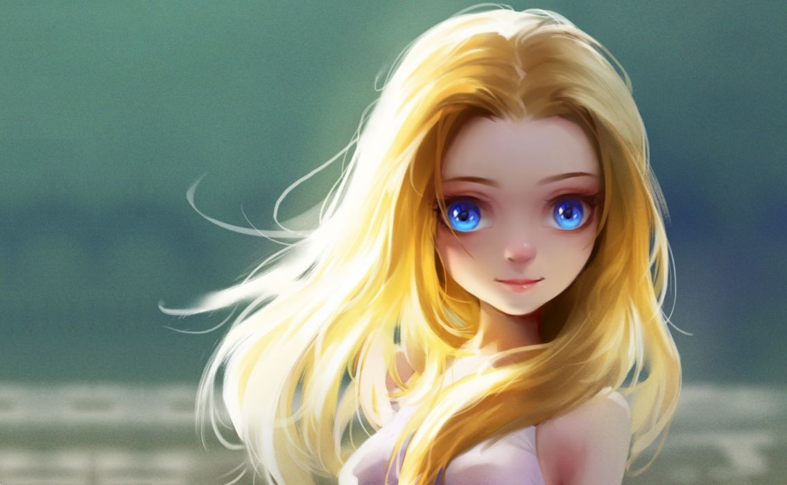 Fantasy Girls Cute Little Girl Blonde Eyes wallpaper