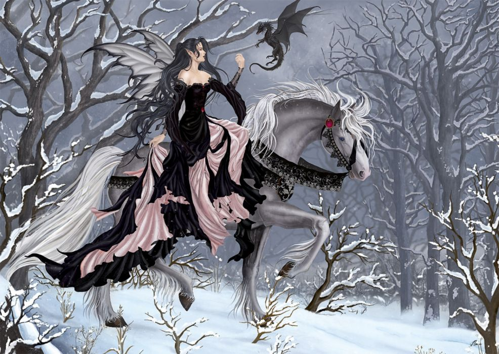 fantasy elf dress horse beauty tree wallpaper