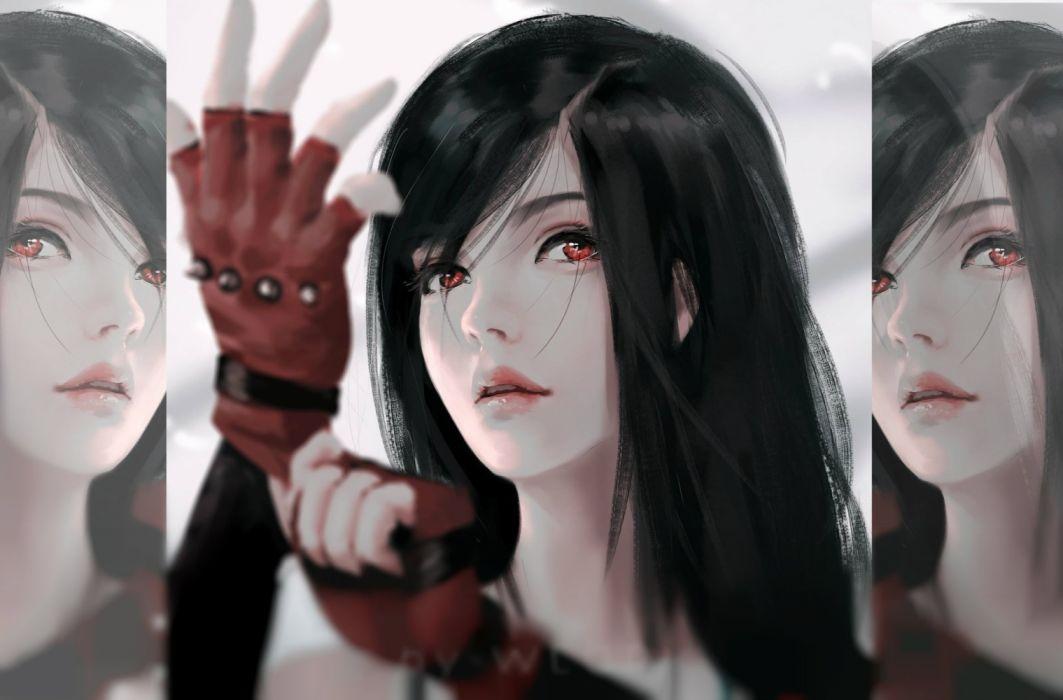 fantasy beauty girl face long hair woman red eyes wallpaper