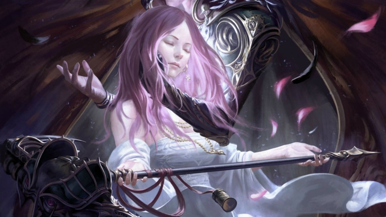 fantasy beauty girl face long hair woman sword wallpaper