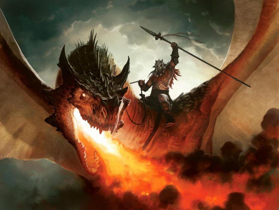 dragons military men sky fire drawings fantasy wallpaper
