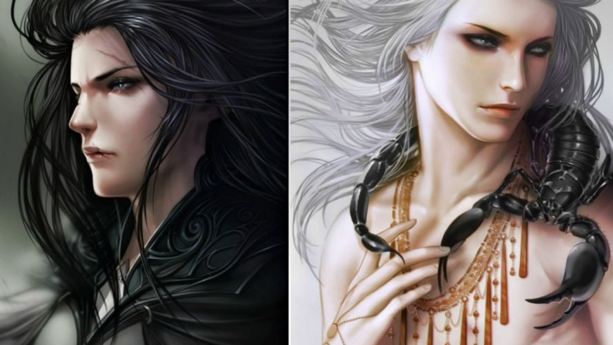 fantasy beauty face long hair male wallpaper