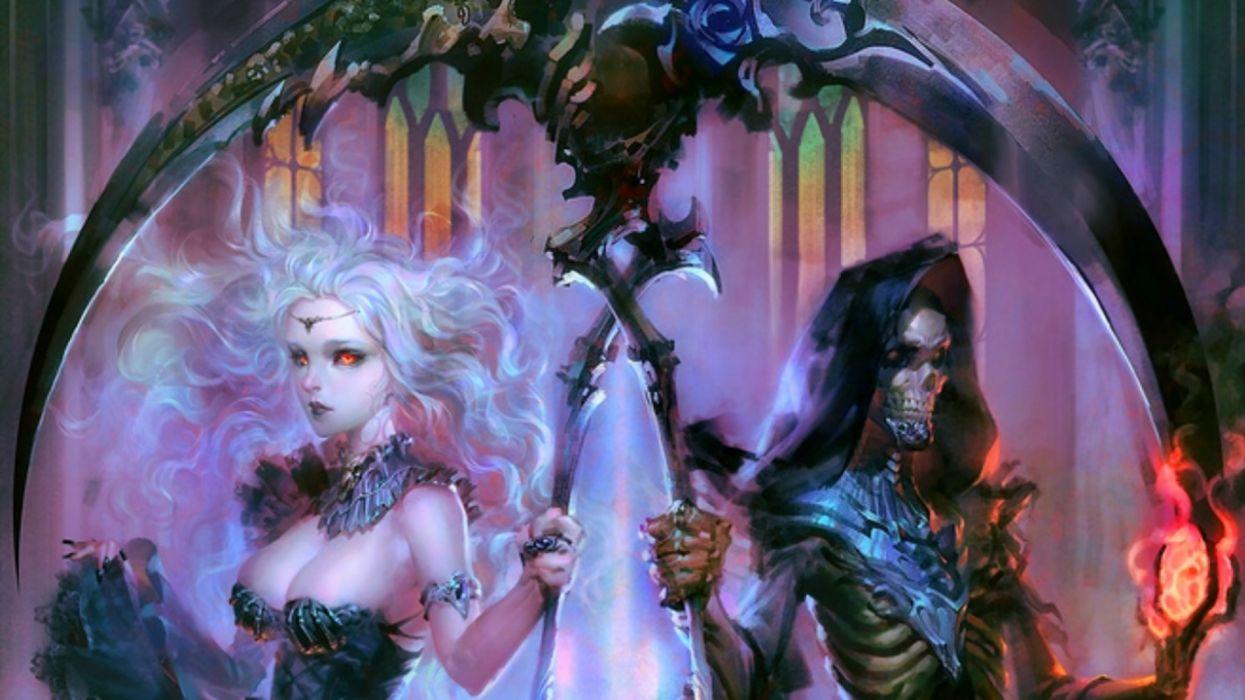 fantasy beauty girl face long hair woman demon wallpaper
