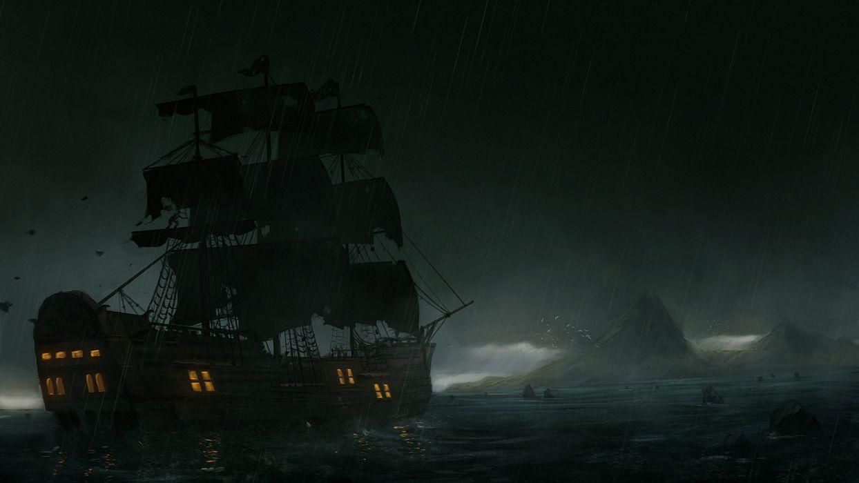 dark fantasy sea ship rain wallpaper