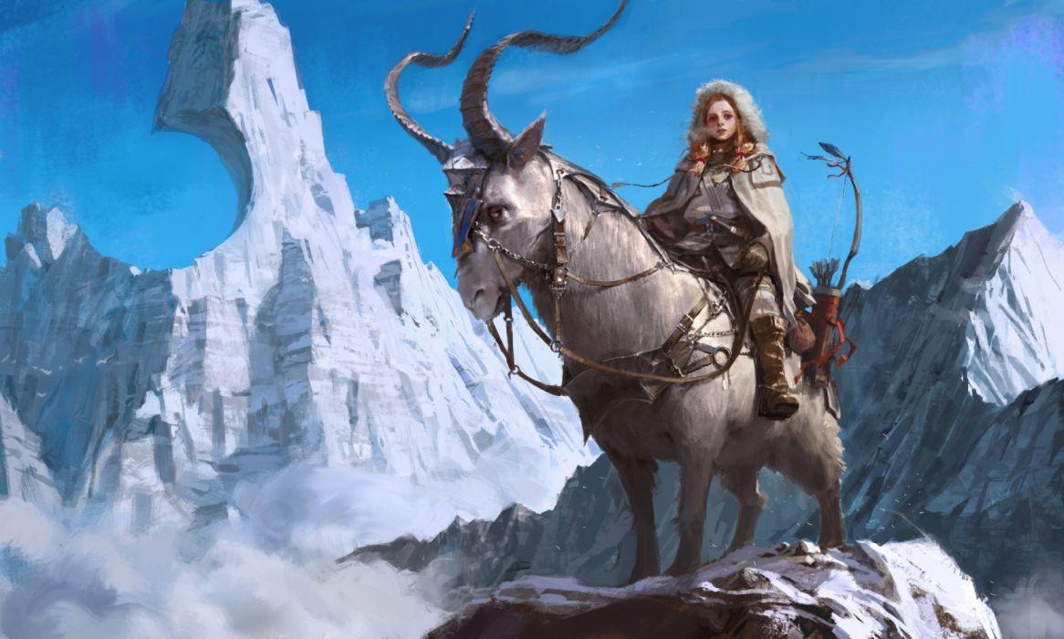fantasy Artist Woman Warrior Sitting On Creature Fantasy Artwork wallpaper