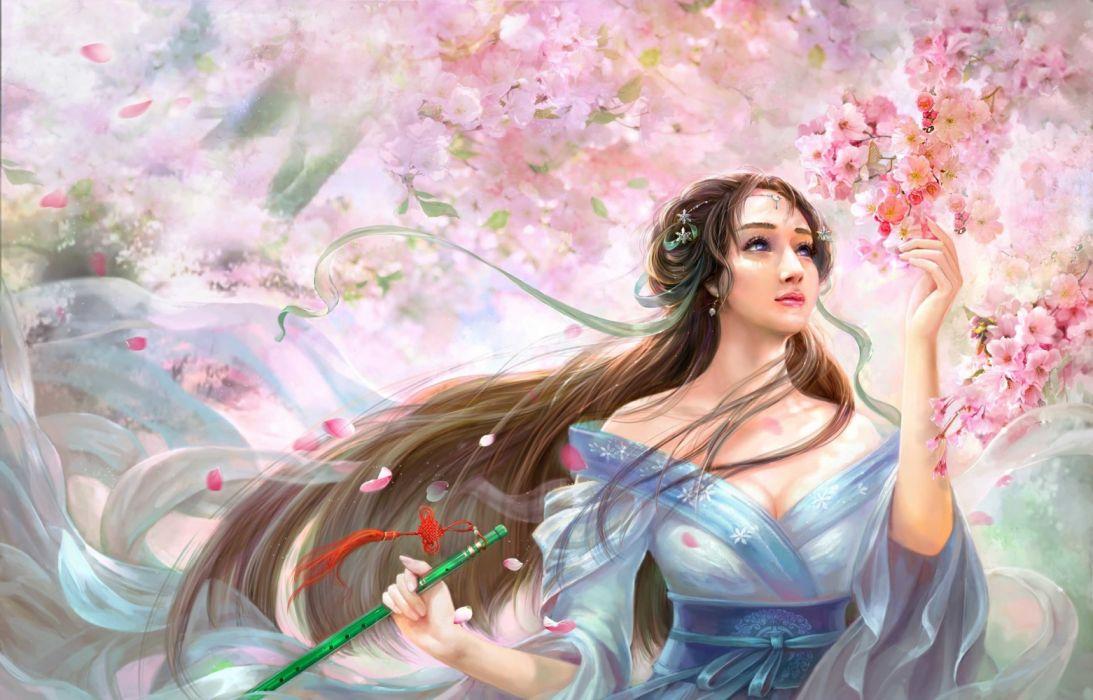 cao-yuwen spring flower long hair woman flower sea wallpaper
