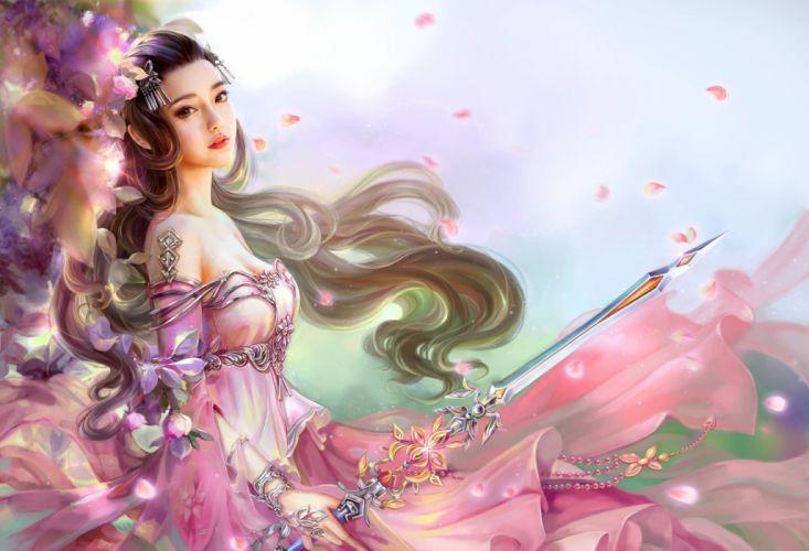 cao-yuwen Classical beauty fantasy princess dress long hair wallpaper