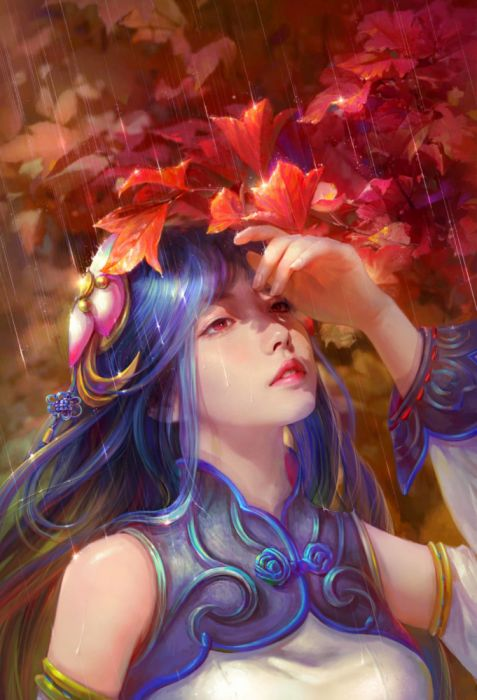 cao-yuwen solar rain blue hair autumn woman fantasy wallpaper