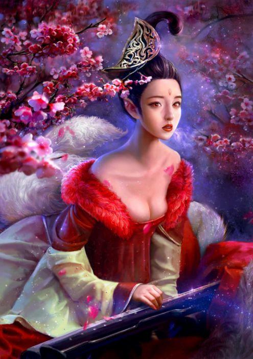 cao-yuwen a fairy fox woman fantasy wallpaper