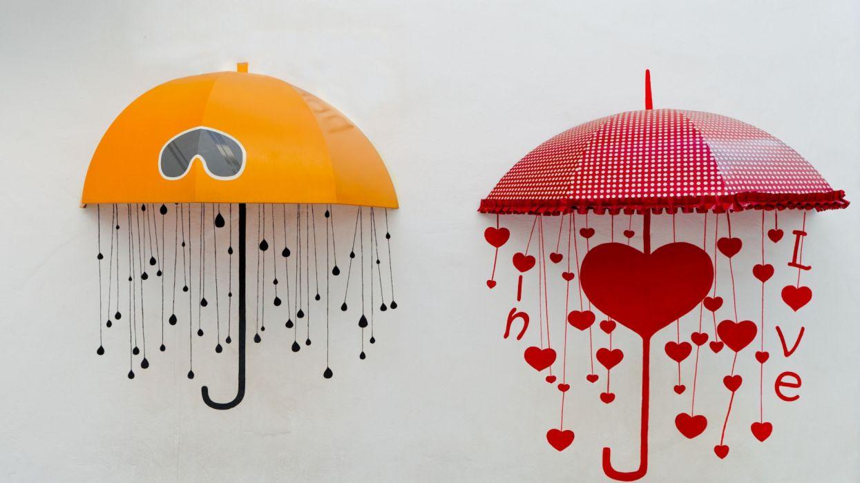 Creative Umbrellas Drawing Heart wallpaper