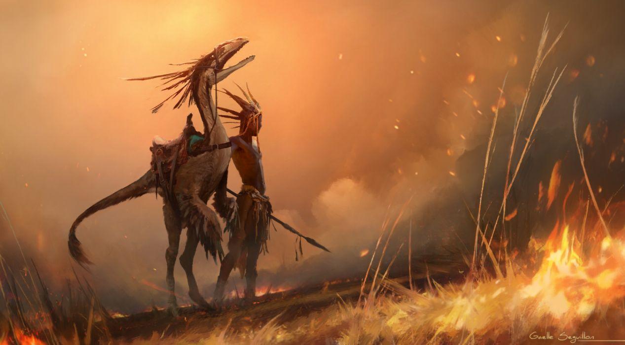 Artist Warrior Creature Fantasy Fire Artwork wallpaper