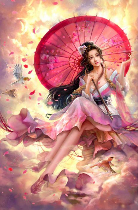cao-yuwen Fairy umbrella sky birds girl dress wallpaper