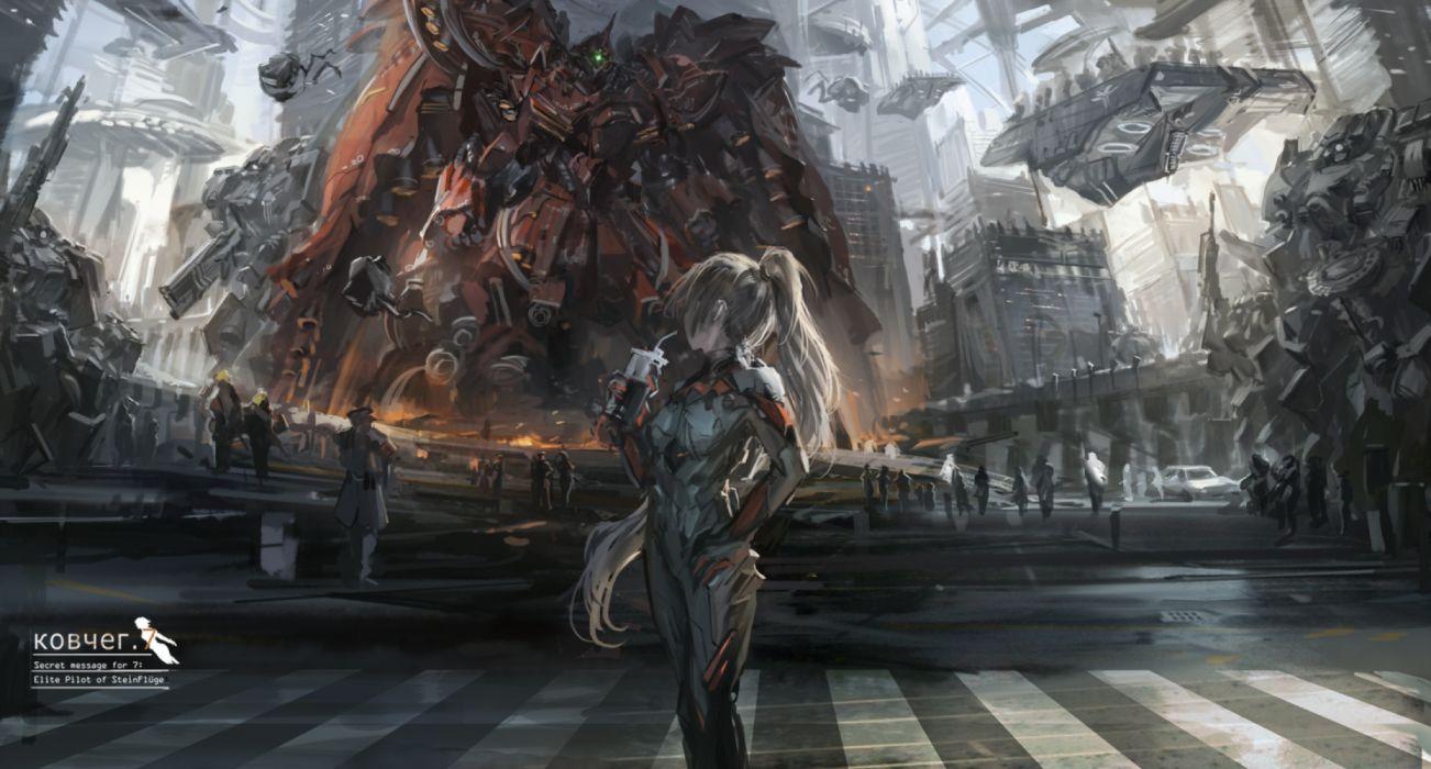 Anime Scifi girl city wallpaper