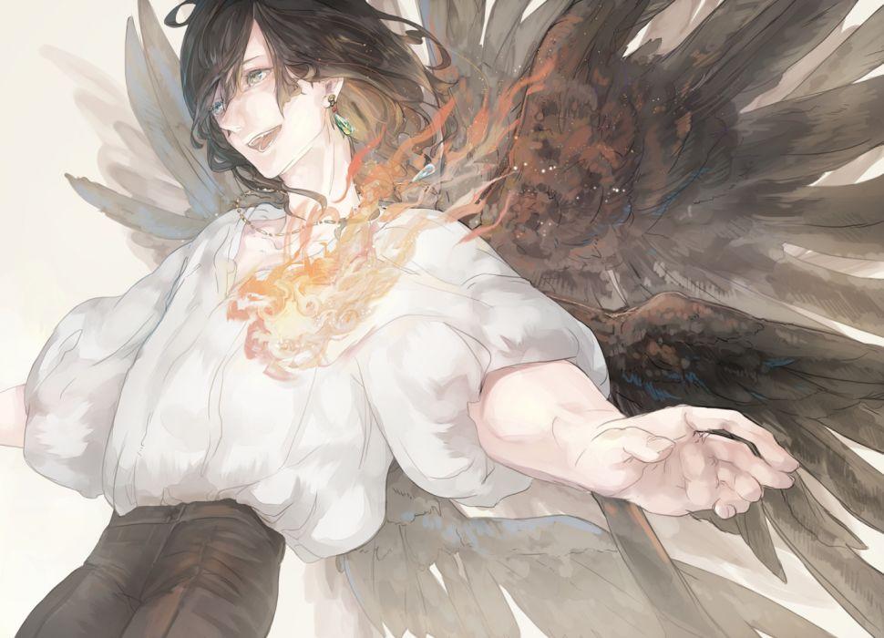 anime demons men fire drawings fantasy wallpaper