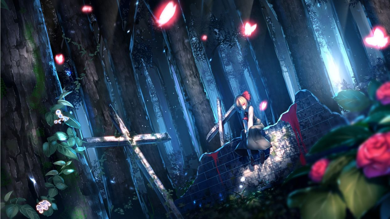 anime girl forest tre petals wallpaper