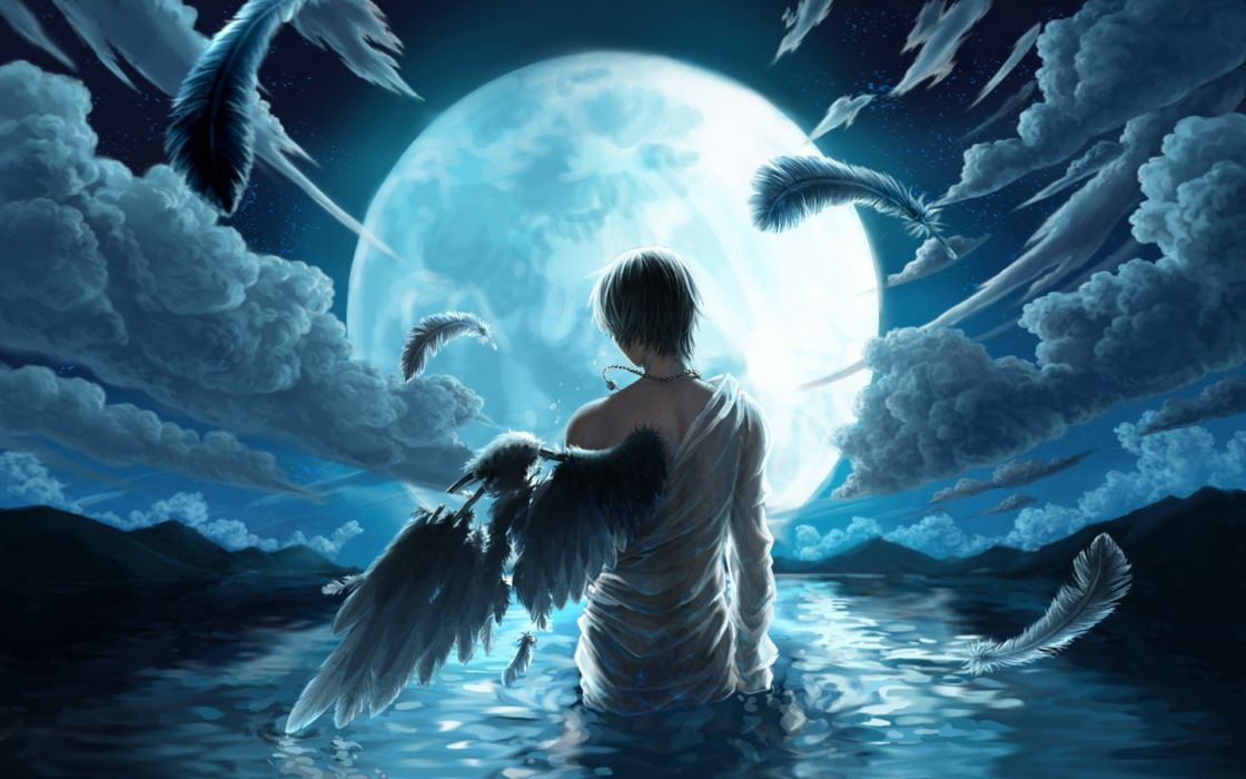 angels water moon men sky night drawings fantasy male blue wallpaper