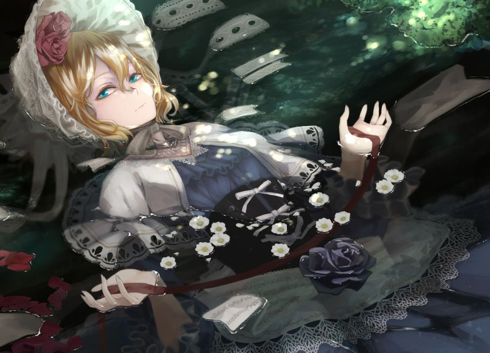 alice anime girl blond dress water wallpaper