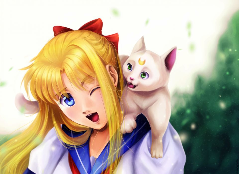 aino minako sailor venus anime girls animals cats drawings wallpaper