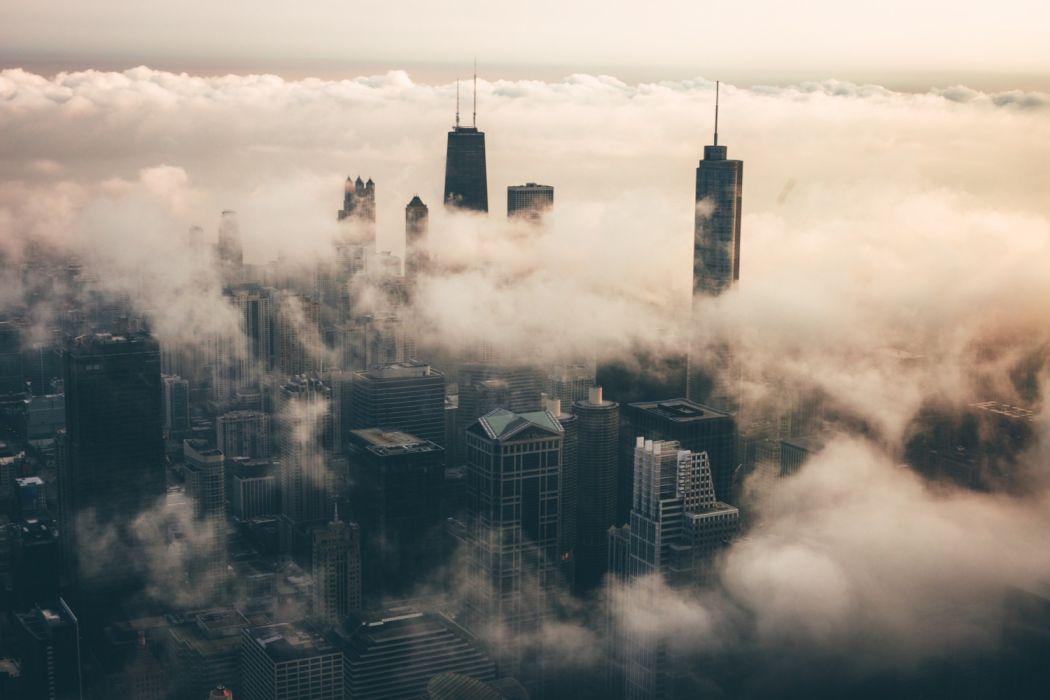 city sky fog wallpaper