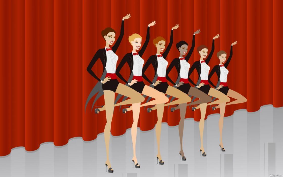 abstracto vector mujeres bailando cabaret wallpaper