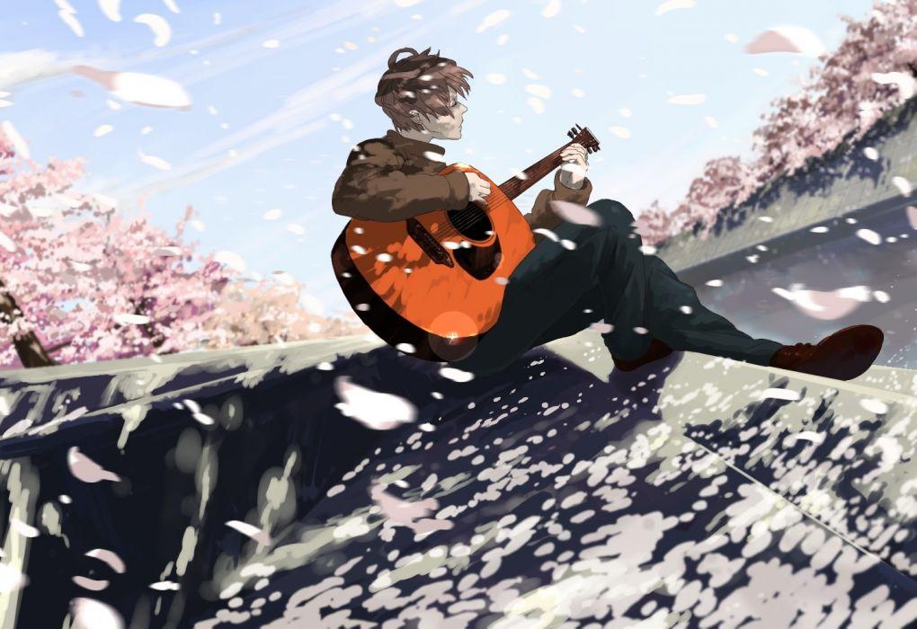 trees manga men music sky objects wallpaper