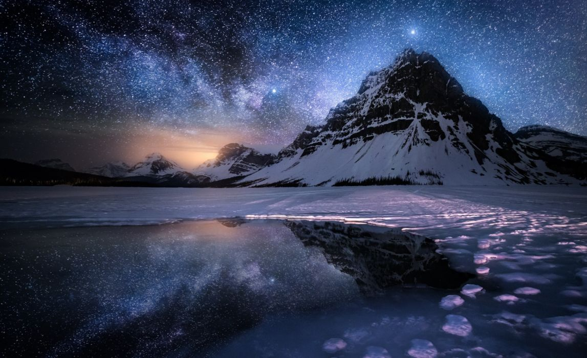 water mountains winter sky night nature snow wallpaper