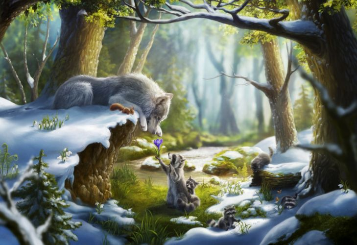 squirrels wolves trees animals nature drawings snow flowers wallpaper