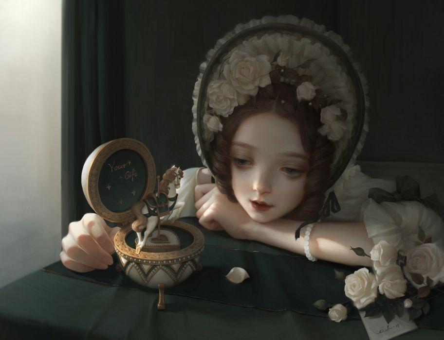 music box little girl fantasy rose horse flower wallpaper